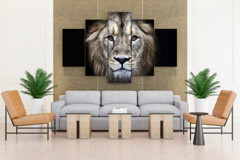 Five Piece Classic Lion Pose Artwork - 5 piece Fearless Lion's Snout Glance Canvas For Your Home & Office Decor - EpicKanvas