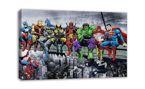 1 Piece Framed MARVEL DC COMIC SUPERHEROES GIRDER LUNCH ATOP SKYSCRAPER Artwork on Wall Art for Office and Home Wall Decor