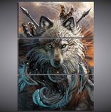 3 Pcs Framed Abstract Wolf with Make Up Canvas - Wolves Artwork for your Home/Office Space