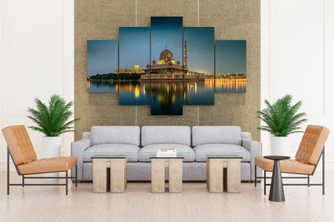 Malaysia Temples Houses Rivers Evening Kuala - 5 piece Canvas