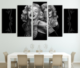 Abstract Marilyn Monroe Five Piece Framed Canvas - 5 Piece Canvas American Star Painting