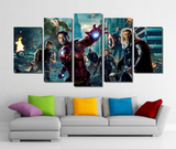 5 Piece Framed Marvel Captain, Stark, Thor, Hawk Avengers Artwork on Wall Art for Office and Home Wall Decor