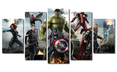5Pcs Framed Avengers Crew Marvel Captain, Stark, Thor, Hawk Art for Office/Home Wall Decor - EpicKanvas
