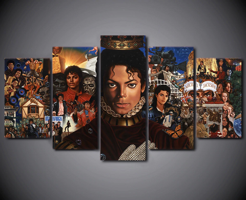 5 Piece Framed Original Michael Jackson Music Iconic Art