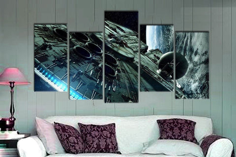 5 Piece Millennium Falcon Canvas Artwork For Home & Office Wall Decor - EpicKanvas