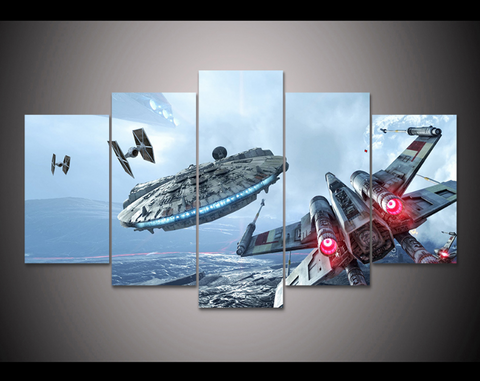 5PCS Framed Star Wars Millennium Falcon & X-Wing Canvas Prints - 5 Piece Canvas Star Wars Battle Artwork on Canvas Wall Art for Office and Home Wall Decor