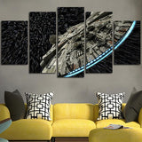Framed 5 Piece Starwars Millennium Falcon Space Canvas-Falcon Art For Home/Office Decor