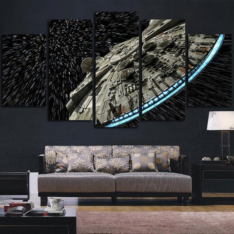 Framed 5 Piece Starwars Millennium Falcon in Space Canvas - 5 Piece Star Wars Falcon Artwork