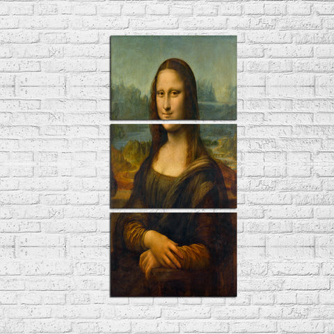 3 Pcs Framed Mona Lisa Painting by Da Vinci - Classic Painting Mona Lisa For Interior Wall Decor For Home/Office