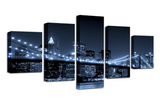 5PCS Framed New York City Night View Canvas For Home/Office Room