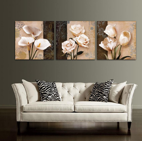 3 Pcs Framed NINE FLOWERS CANVAS for your Home/Office Space