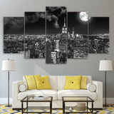 5PCS Framed New York City At Night Cannvas For Home/Office Room