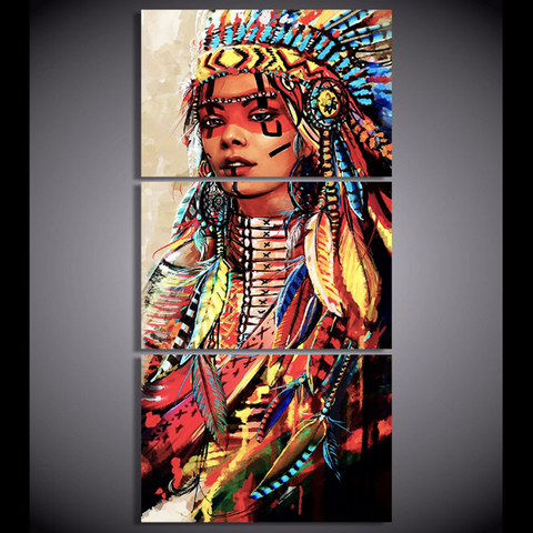 American Indian Colorful Royal Artwork - 3 Piece Native Indian Canvas