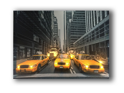 One Piece Framed Modern LED New York Street Yellow Cab Canvas For Home/Office Decor