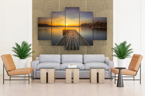 Norway Rivers Lofoten Sunrises and sunsets Marinas - 5 piece Canvas