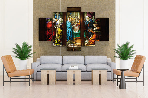 Our Lady of the Assumption stained glass religion catholic chris - 5 piece Canvas - EpicKanvas