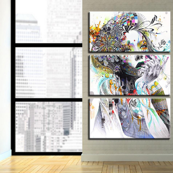 3 piece PSYCHEDELIC GIRL Canvas