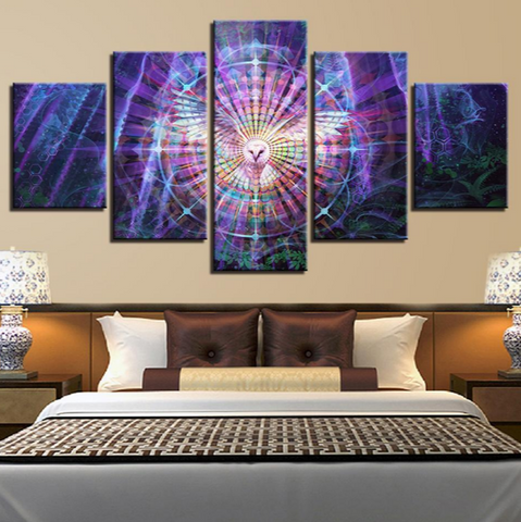 5 Pcs PSYCHEDELIC OWL Canvas For Your Home/Office Room