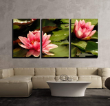3 Pcs Framed Oriental Lilly Flower Canvas Art for your Home/Office Space - EpicKanvas