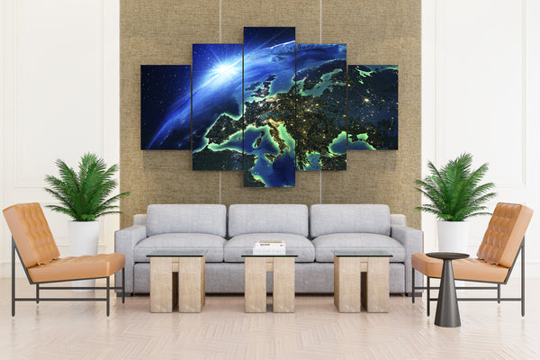 Planets contienente Earth - 5 piece Canvas - EpicKanvas
