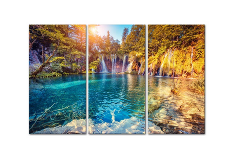 3 Pcs Framed Plitviče Lakes National Park In Central Croatia Canvas for your Home/Office Space - EpicKanvas
