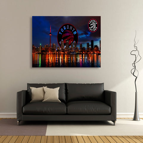 1 PCS Framed Toronto Raptors City Canvas Art- 1 Piece NBA Champion City Wall Art for Office and Home Wall Decor