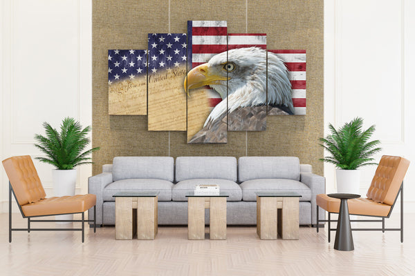 REAL EAGLE FLAG CUS  - 5 piece Canvas