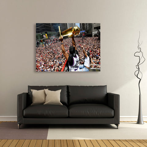 1 PCS Framed Toronto Raptors NBA Win Cup With Fans In Downtown Toronto Canvas Art for Office and Home Wall Decor