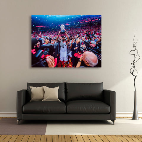 1 PCS Framed Toronto Raptors NBA Win Cup With Fans Canvas Art for Office and Home Wall Decor