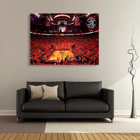 1 PC Framed Toronto Raptors NBA First Ever Win Toronto Rogers Arena Fan Canvas Art for Office and Home Wall Decor