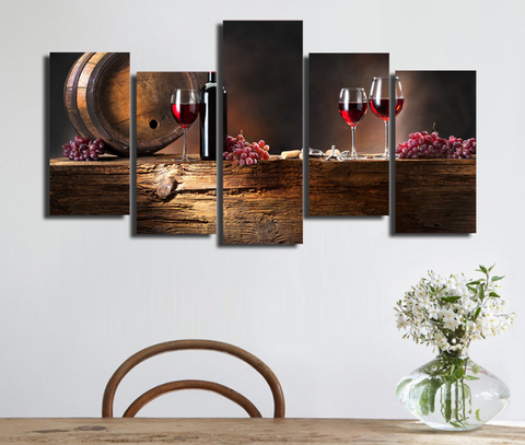 ... 5PCS Framed Winery Wall Art Red Wine Canvas Prints/Painting   5 Piece  Canvas ...