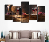 5PCS Framed Winery Wall Art Red Wine Canvas Prints/Painting - 5 piece Canvas