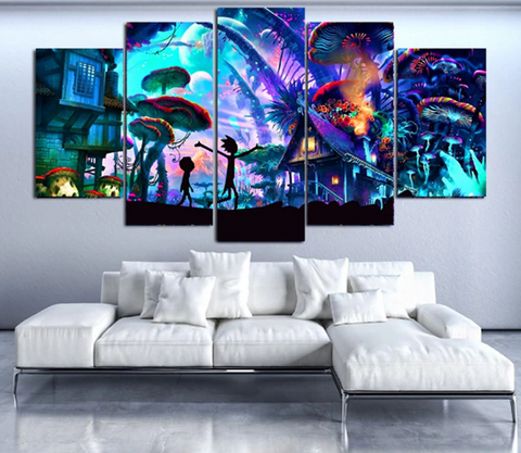Empowered Living - 5 pcs Framed Shroom World Rick and Jojo Canvas - EpicKanvas