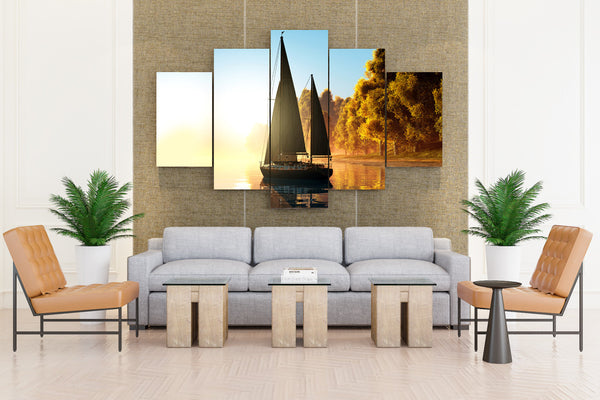Sailing Autumn Yacht Coast Trees - 5 piece Canvas - EpicKanvas