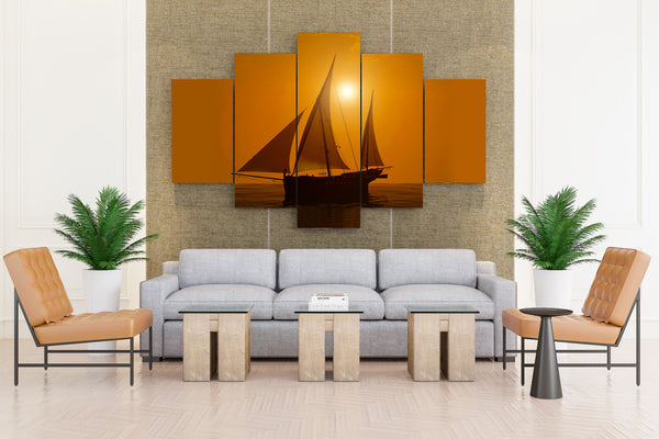 Sailing Sunrises and sunsets Sea Ships - 5 piece Canvas
