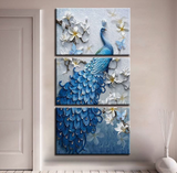 3 Pcs Framed Peacock Abstract Canvas Artwork For Your Home & Office Wall Decor