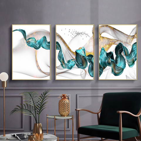 Epikkanvas Empowered Living-3 PC Un-Framed Abstract Color Spalsh In Blue & Golden Canvas Art for Office and Home Wall Decor