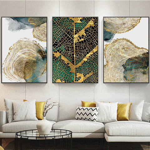 Epikkanvas Empowered Living-3 PC Un-Framed Leaf and Trunk Texture Abstract Canvas Art for Office and Home Wall Decor