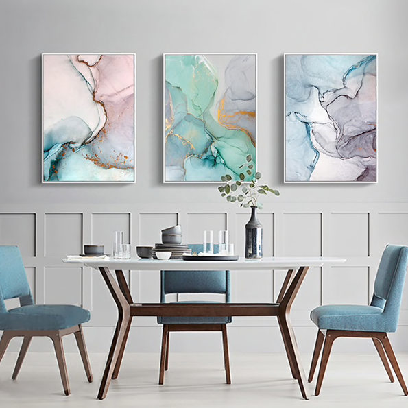 Epikkanvas Empowered Living-3 PC Un-Framed Geometric Agate Marble Abstract Canvas Art for Office and Home Wall Decor