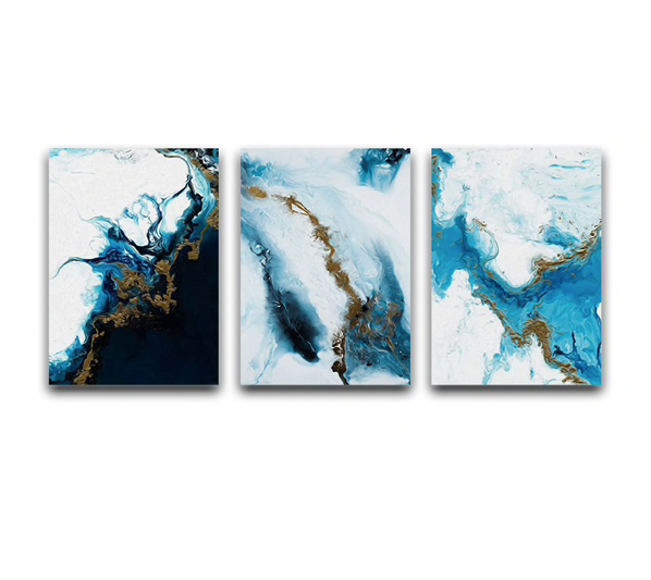 Epikkanvas Empowered Living-3 PC Un-Framed Abstract Sky View Of Turquoise Blue Lagoon Canvas Art for Office and Home Wall Decor