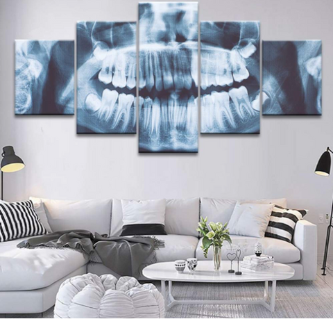 Epikkanvas Empowered Living - 5 Pcs X-Ray Dental Tooth Canvas for Dental Clinic Wall Decoration & Beauty - EpicKanvas