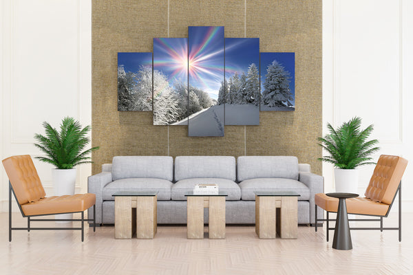 Seasons Winter Sun Snow - 5 piece Canvas - EpicKanvas