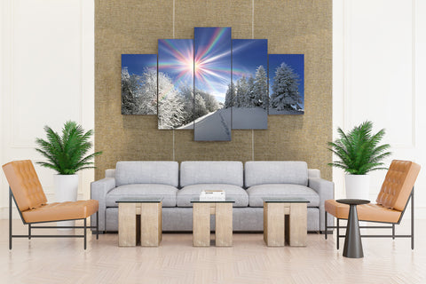 Seasons Winter Sun Snow - 5 piece Canvas