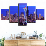 5 Pcs Seattle At Night Canvas For Your Home/Office Room - EpicKanvas
