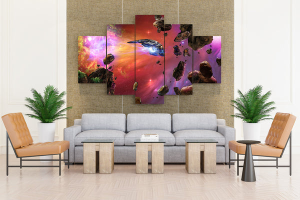 Ships Asteroids - 5 piece Canvas - EpicKanvas