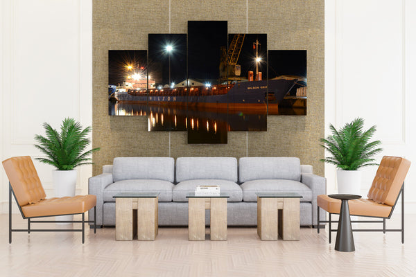 Ships Marinas Night Street lights - 5 piece Canvas - EpicKanvas