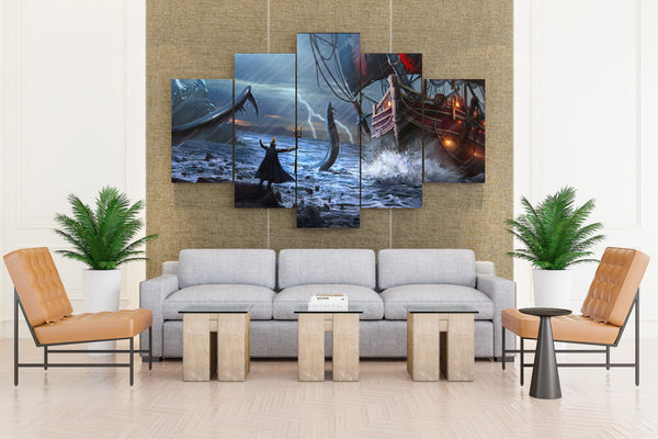 Ships Sailing Rain Warriors Lightning Trident - 5 piece Canvas