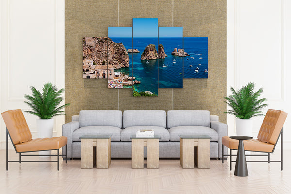 Sicily Italy Coast Houses Boats - 5 piece Canvas - EpicKanvas