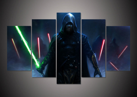Framed Canvas Star Wars Sky Walker Painting - 5 Piece Canvas