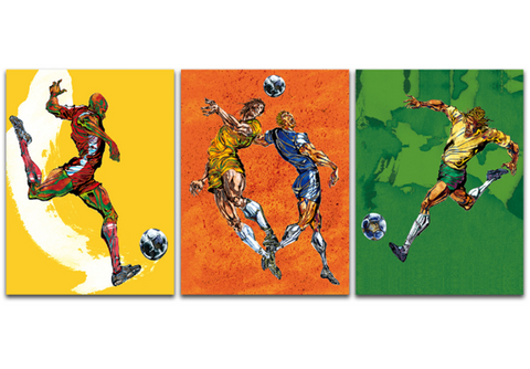 3 piece Abstract Soccer Canvas - European Football League Game Player Soccer Artwork